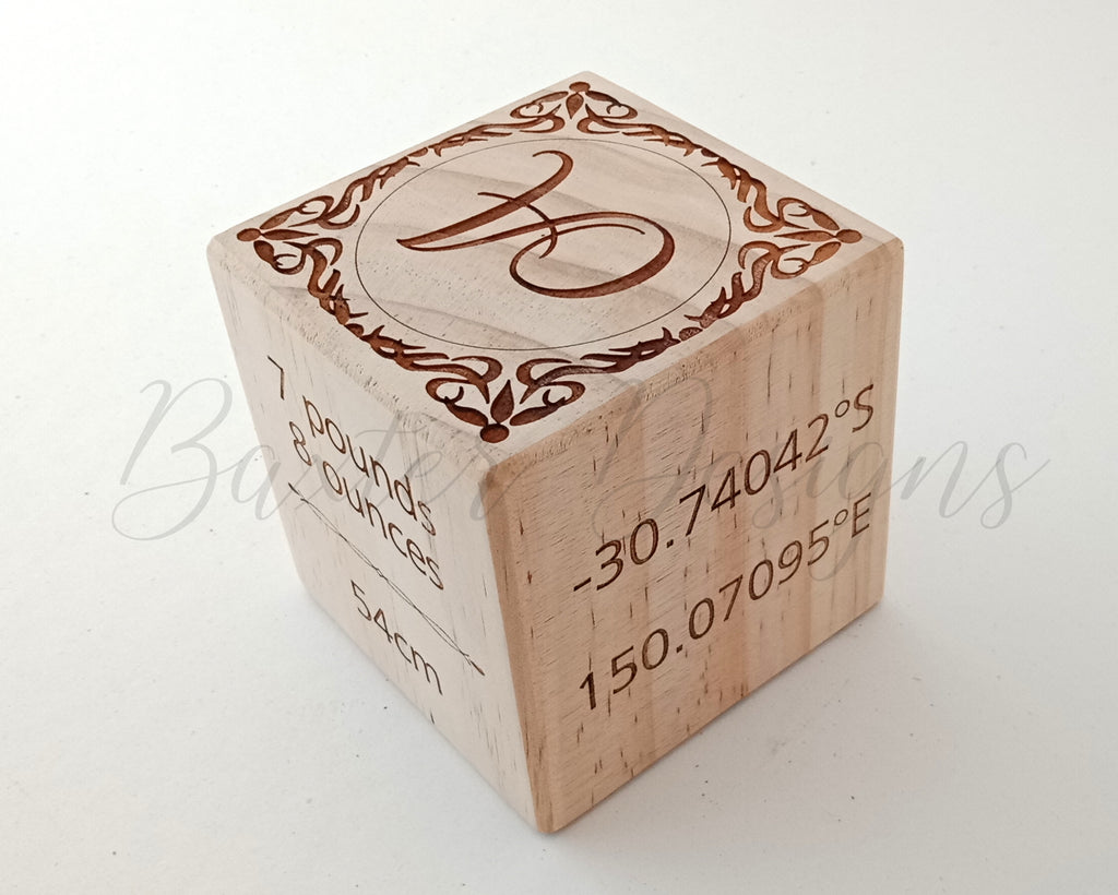 Wooden Baby Birth Block - Keepsake Personalised Memory 9cm Newborn New Baby Gift Name Date Time Weight Height