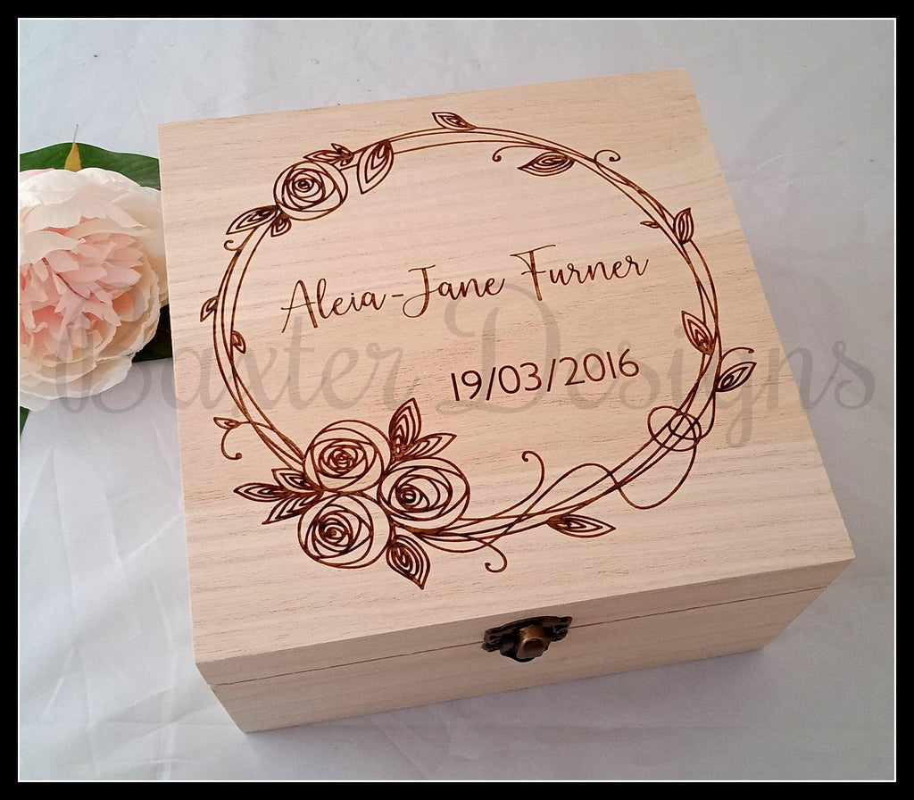 Personalised Wooden Baby Keepsake Box Rose Wreath 16cm Square