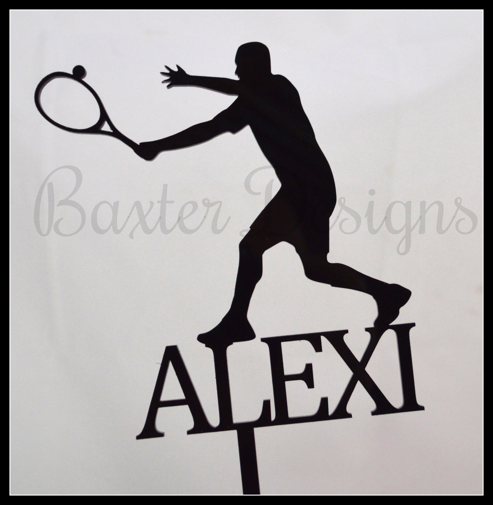 Colour Acrylic Cake Topper Tennis Black
