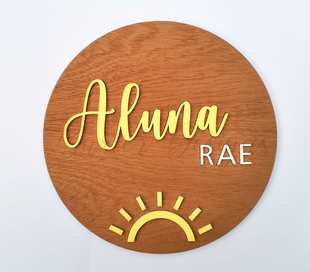 Wood 3D Personalised Name Plaque Pastel Yellow with Sun Acrylic