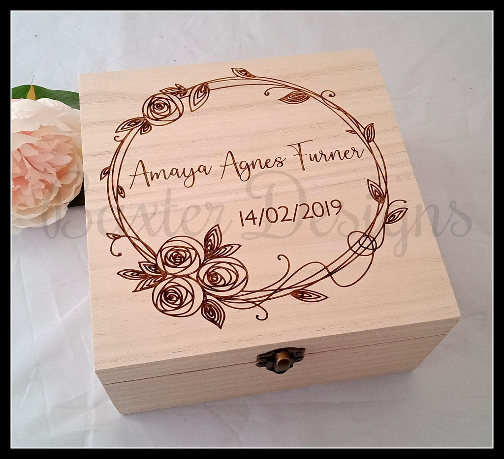 Personalised Wooden Baby Keepsake Box Rose Wreath 16cm Square - Baxter Designs Australia