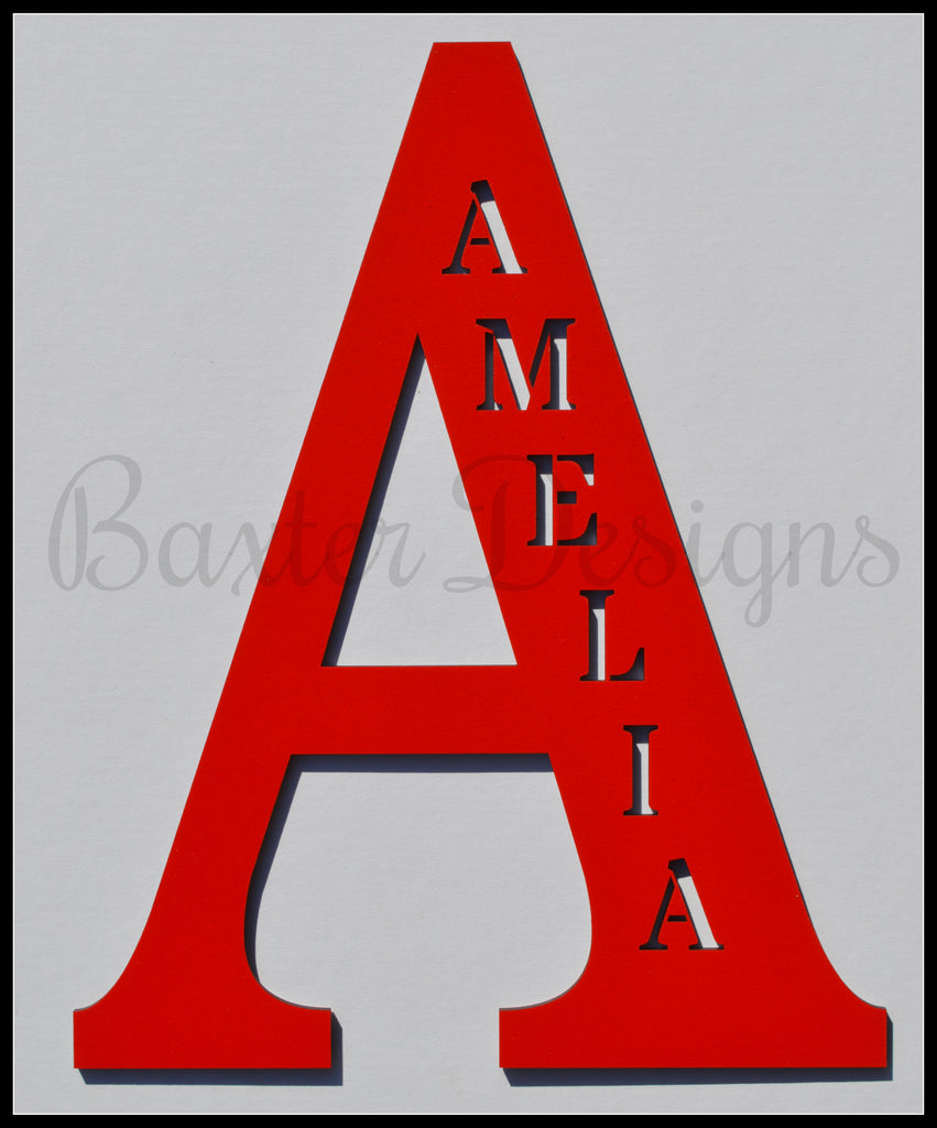 wooden letters personalised red