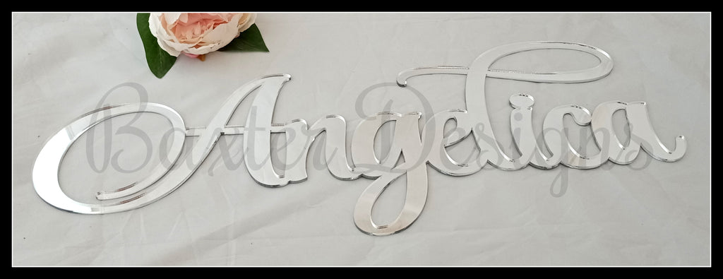 Mirror Acrylic Wall Hanging Name Sign Gold Silver Rose Gold Pink Blue Purple Red Green