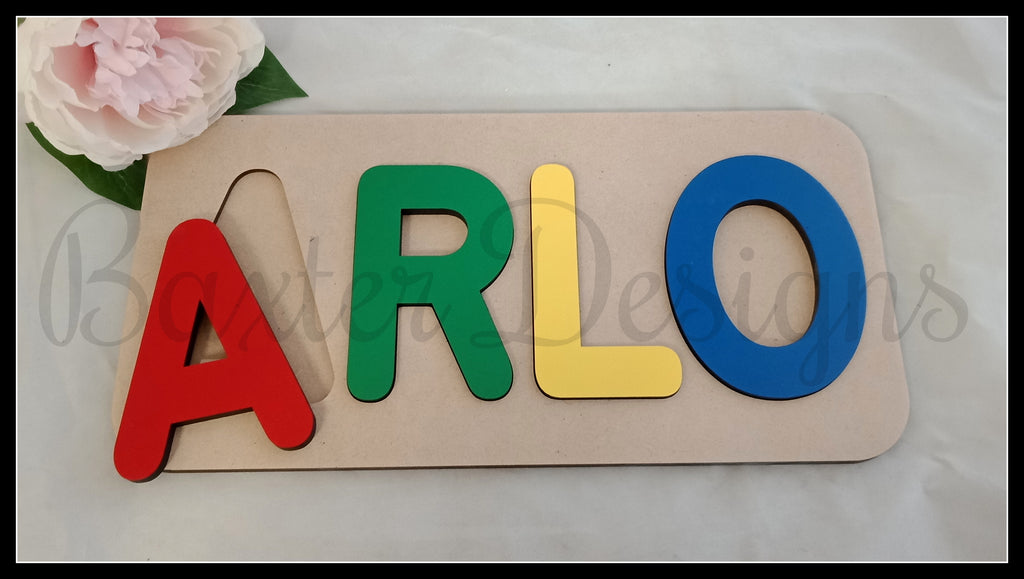 3-4 Letter Name Puzzle Painted Personalised Wooden Puzzles