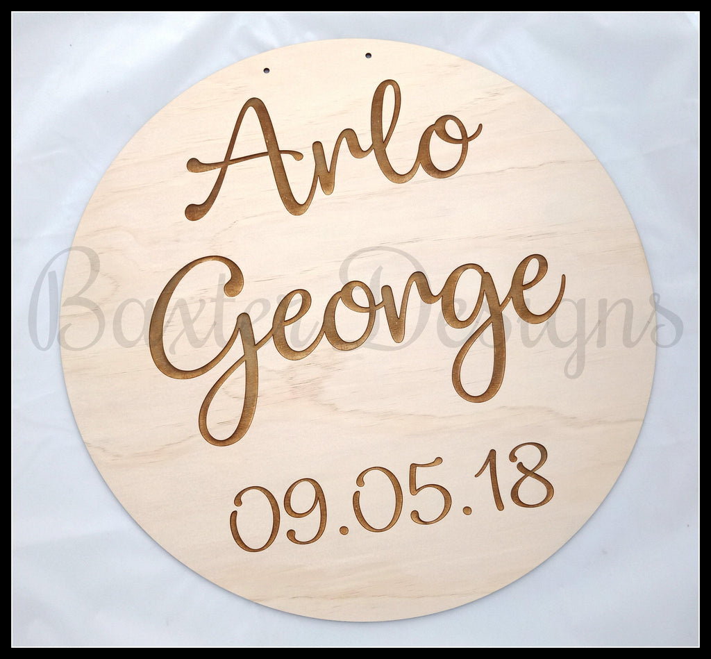 Children Hanging Name Disc Room Wall Kids Raw Ply wood