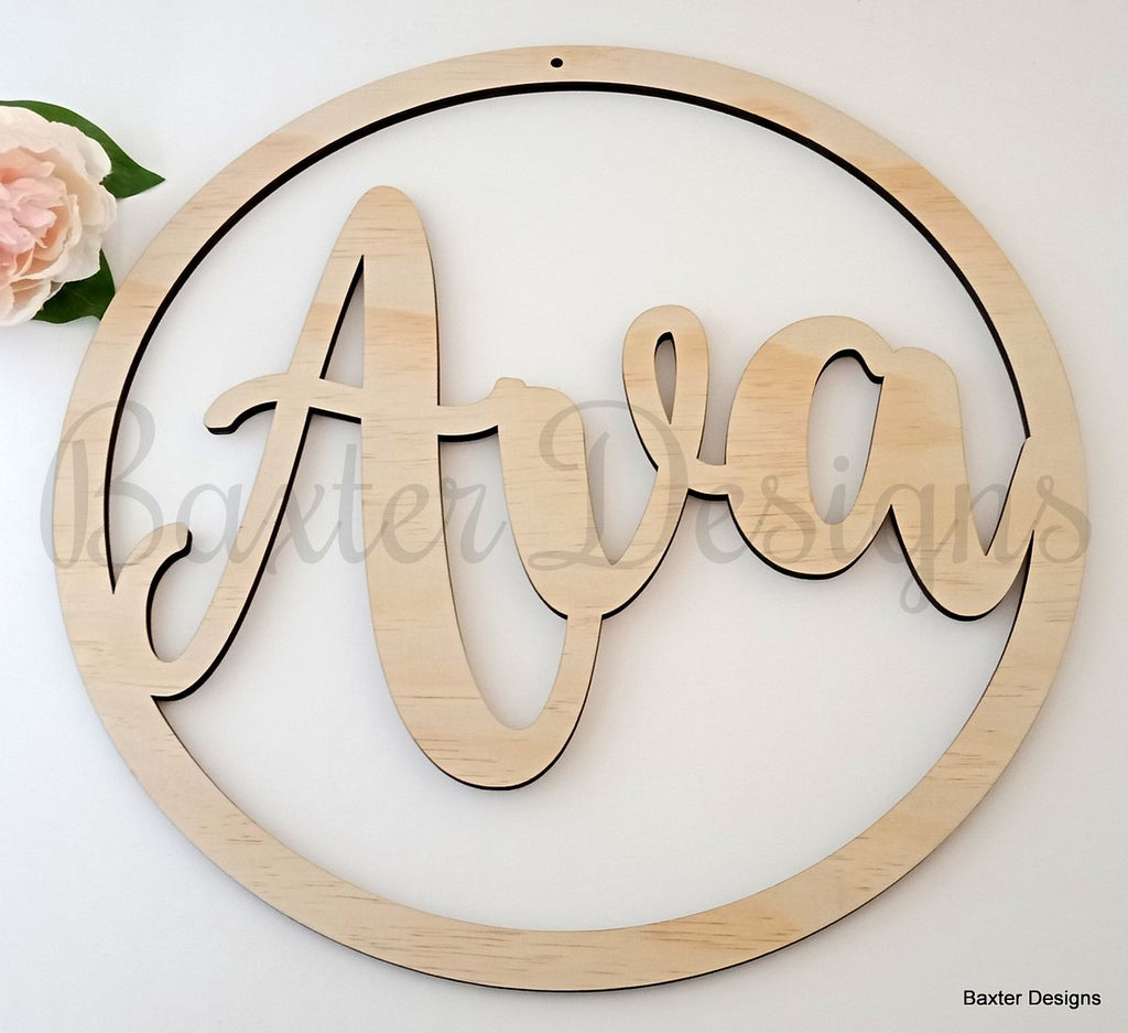 60cm Ply Hanging Hoop Sign for Weddings, Christenings, Baby Showers, Engagements and Events