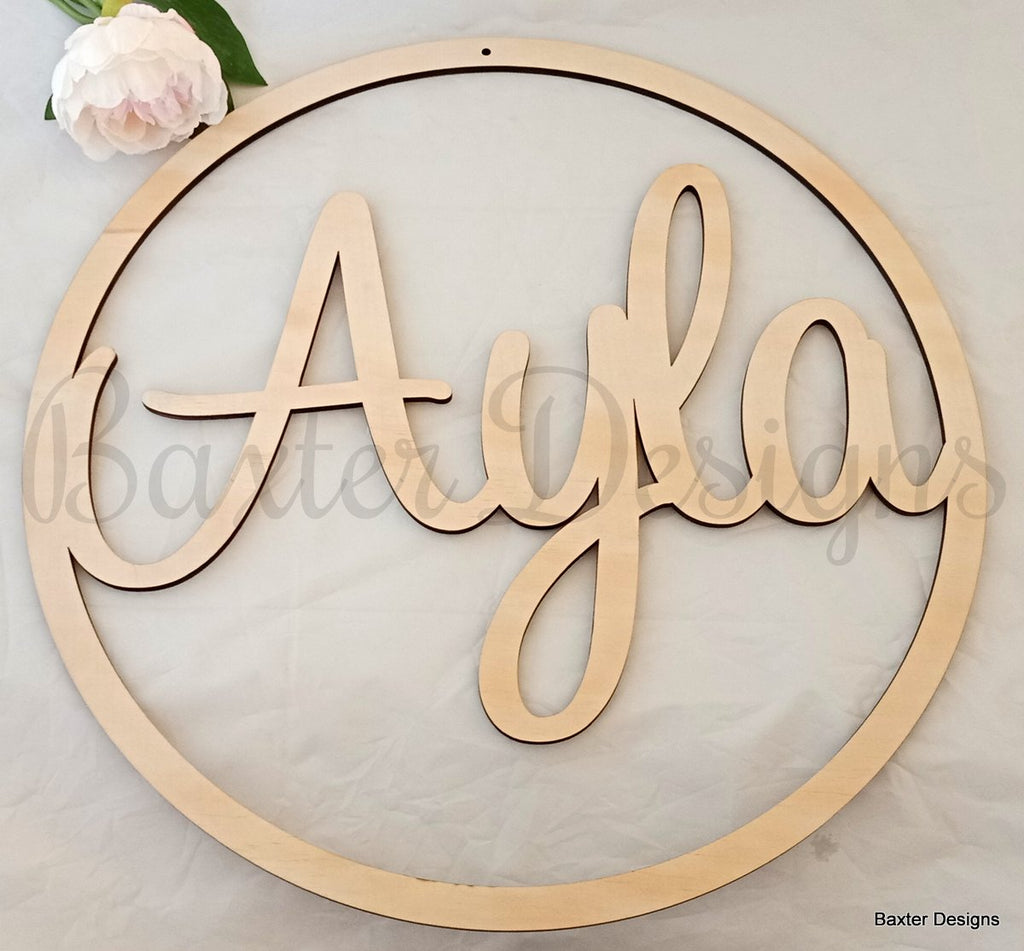 40cm Ply Hanging Hoop Sign for Weddings, Christenings, Baby Showers, Engagements and Events