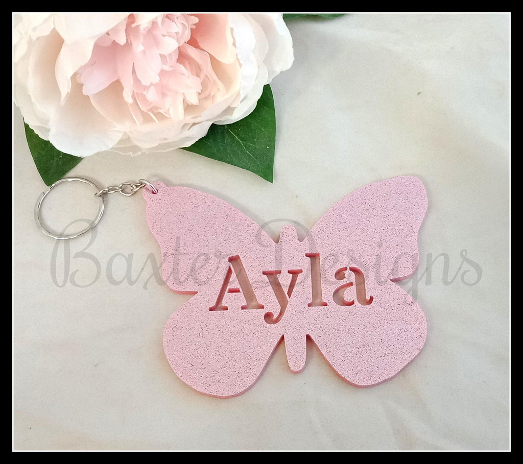 Acrylic Bag Tags Acrylic Personalised Name Keyring - Baxter Designs Australia