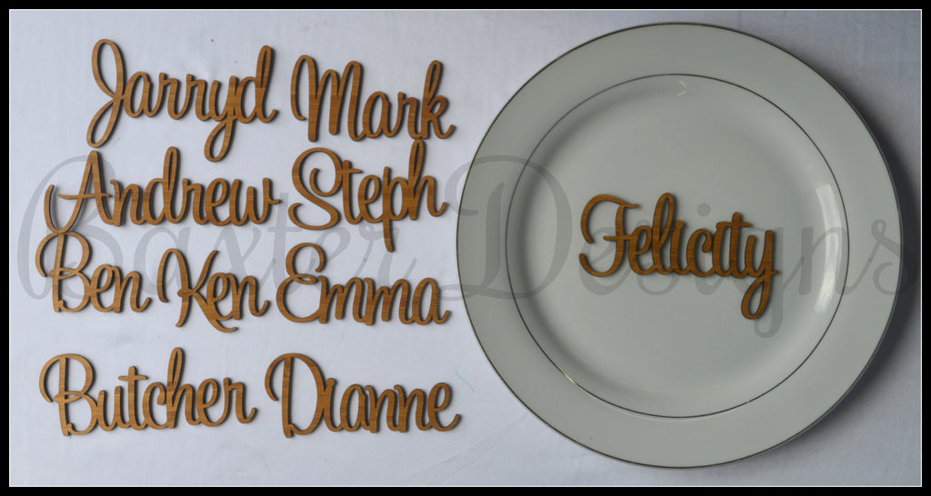 Wedding Name Cards Wooden and Acrylic Plate Names