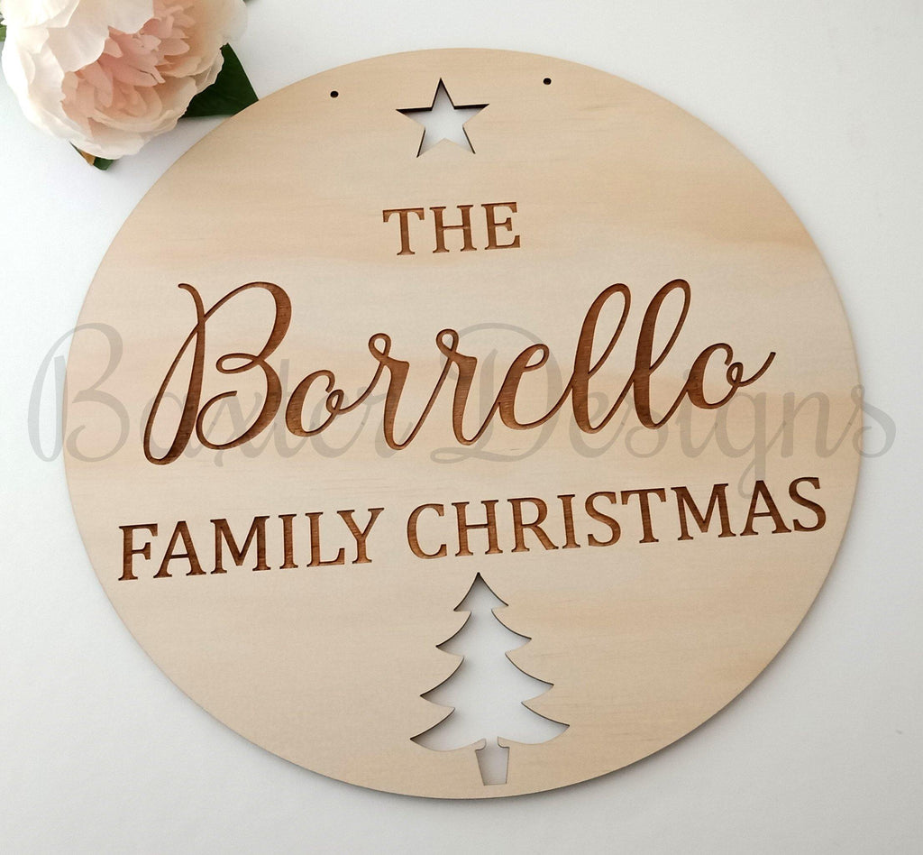 Family Christmas Wall Sign Plaque Personalised Door Wreath