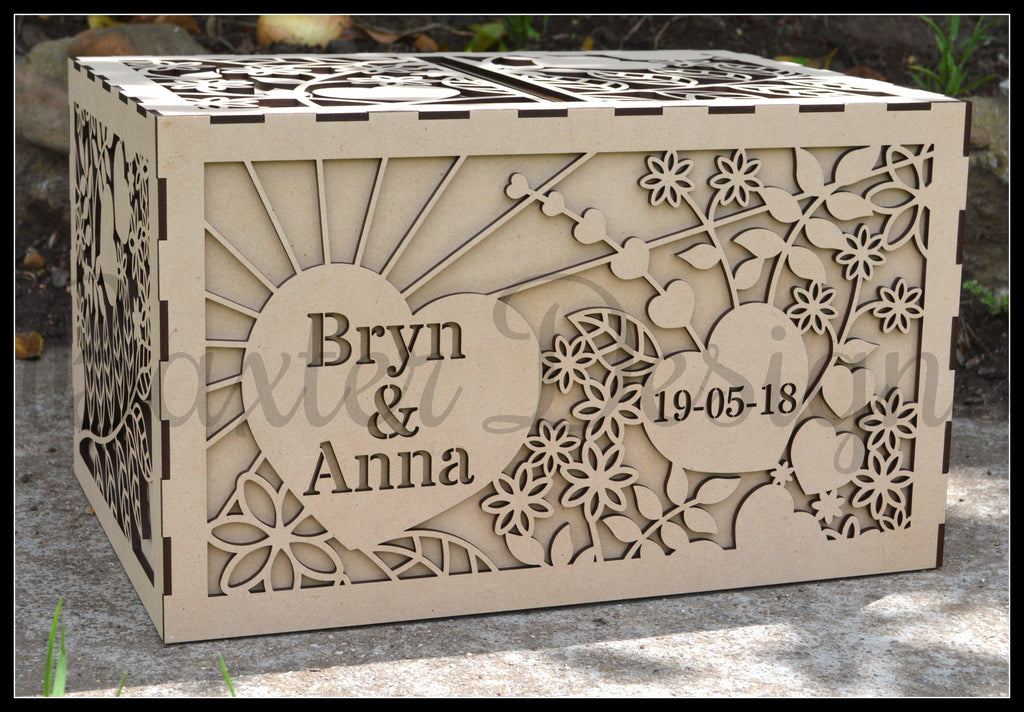 Double Box RAW Wooden Wedding Engagement Party Card Wishing Well Box