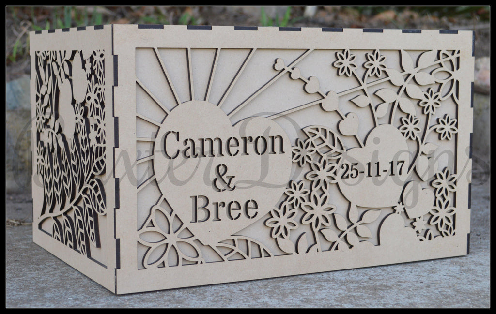 FLAT PACK of Double Box RAW Wooden Wedding Engagement Party Card Wishing Well Box