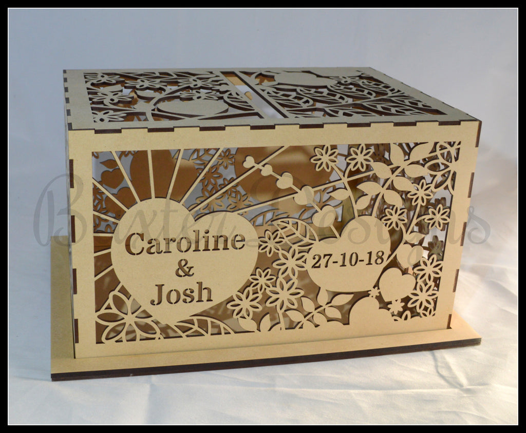 FLAT PACK of Single Box RAW Wooden Wedding Engagement Party Card Wishing Well Box