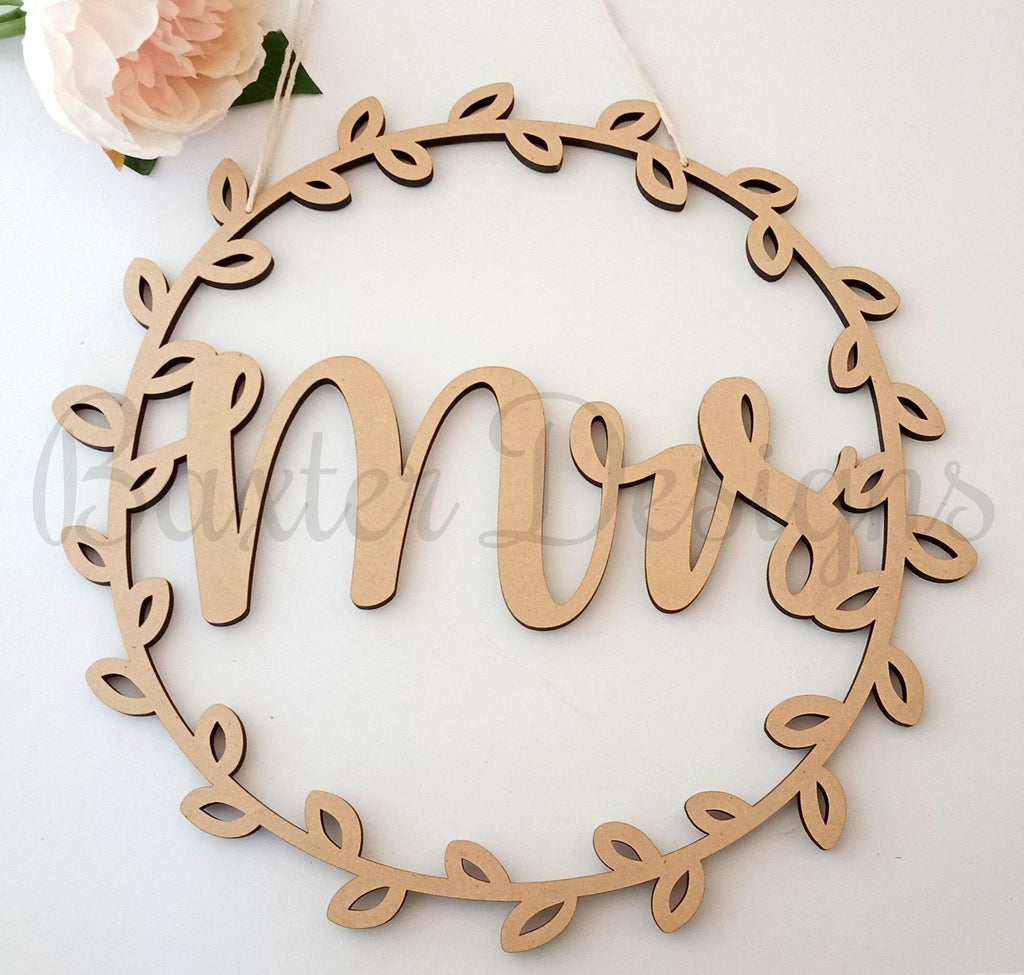Chair Wreath Signs Back of Chair Wedding Mr and Mrs Hanging plaque Baby Shower Just Married Mr & Mrs Mummy to be - Baxter Designs Australia