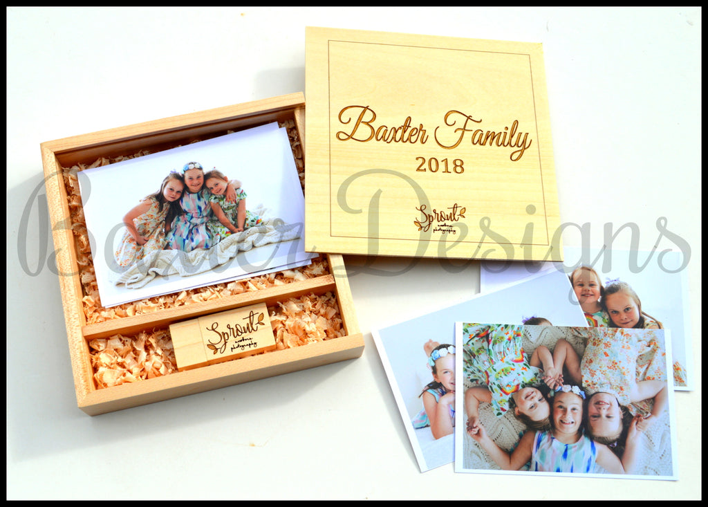 USB Photo Box with engraved logo and Name - Perfect for photographers to give to clients