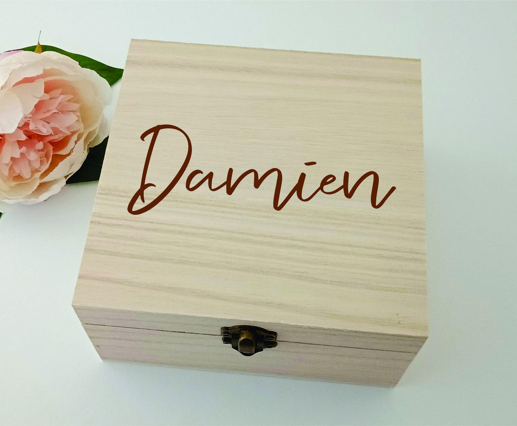 Children Name Personalised 16cm Square Box - Baxter Designs Australia
