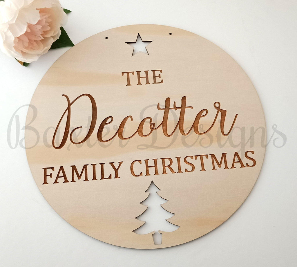 Family Christmas Wall Sign Plaque Personalised Door Wreath - Baxter Designs Australia