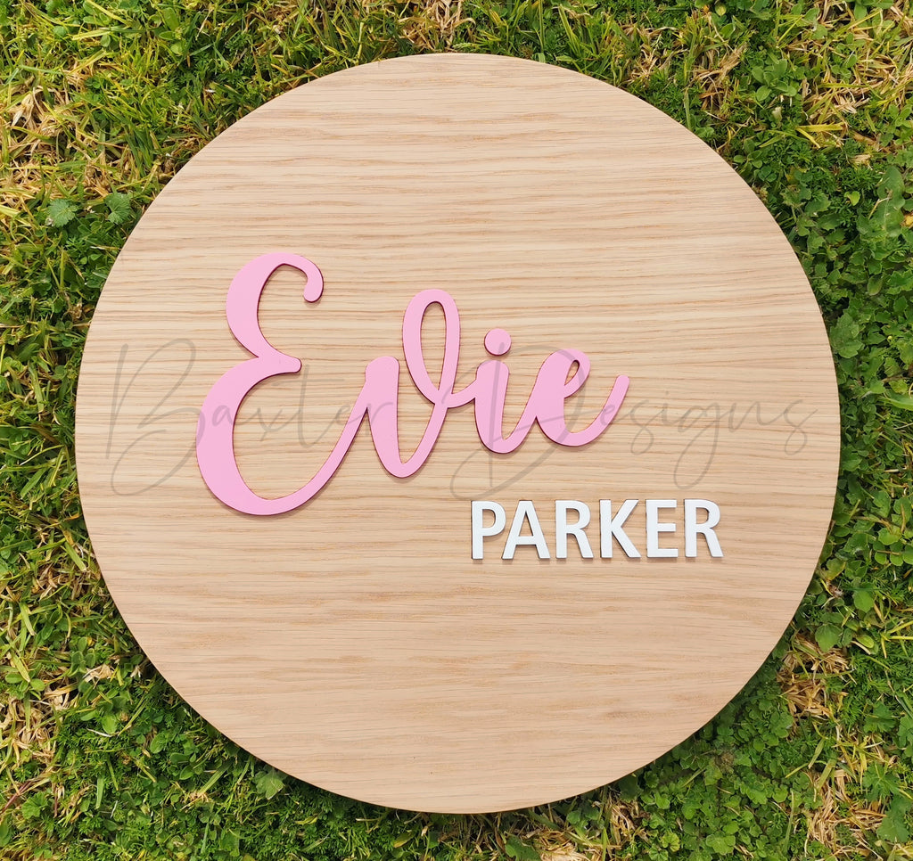 Wood 3D Personalised Name Plaque Pastel Pink and White Acrylic