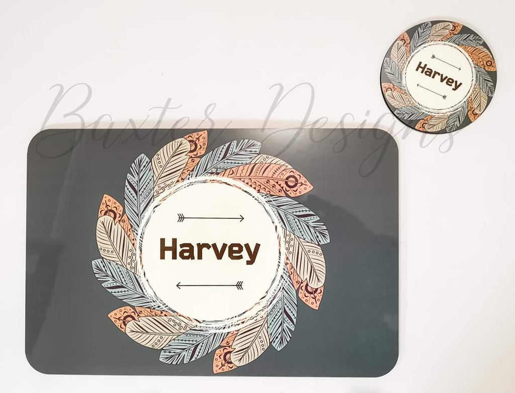 Personalised Rectangle Printed Placemat and Coasters.