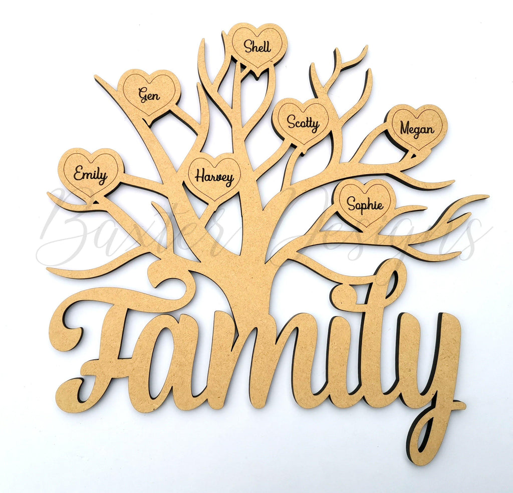 Family Tree Wooden Name Hearts Mothers Day Birthday Present - Baxter Designs Australia