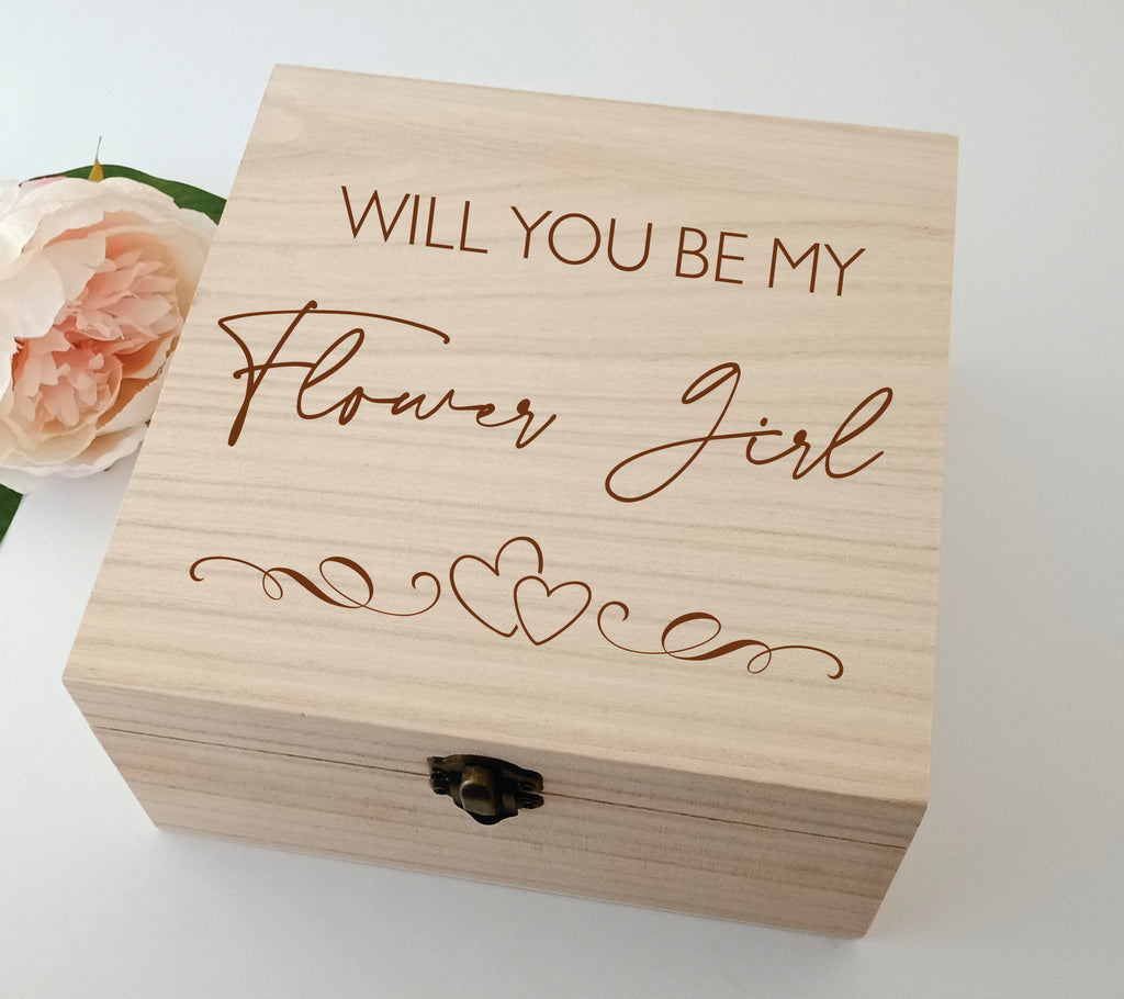 Will you be my Flower Girl Wood Box Personalised Engraved Square Box Wooden