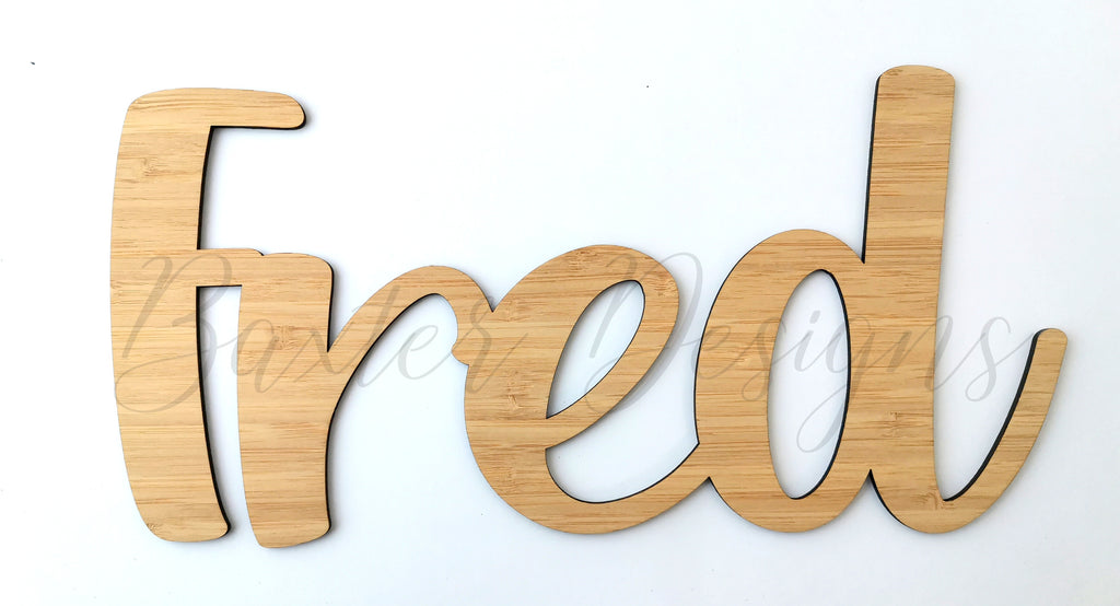Wooden Wall Hanging Personalised Name Sign Ply & Bamboo Wood