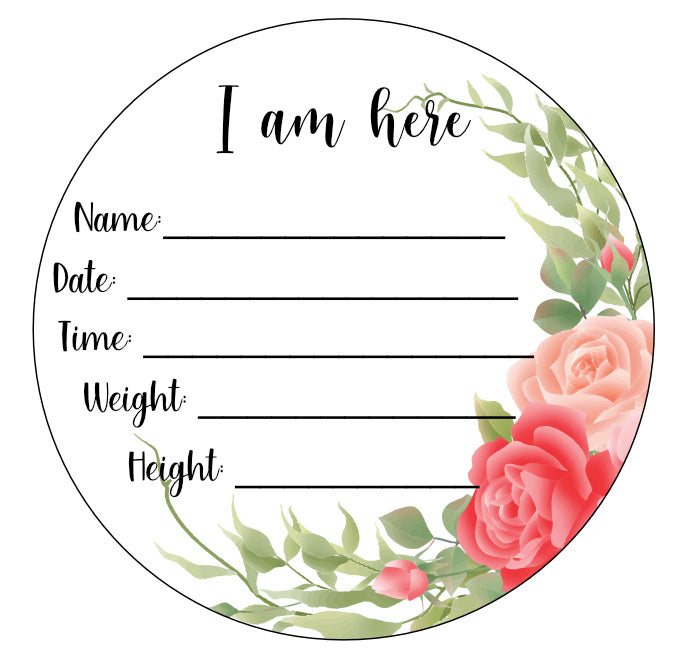 Wood Birth Announcement Disc Plaque Sign Flower
