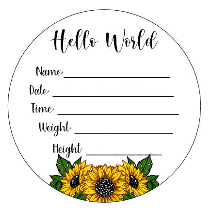 Wood Birth Announcement Disc Plaque Sign Sunflower