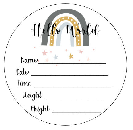 Wood Birth Announcement Disc Plaque Sign Rainbow