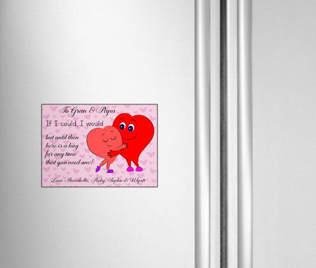 Send a Hug magnetic fridge sign magnet board