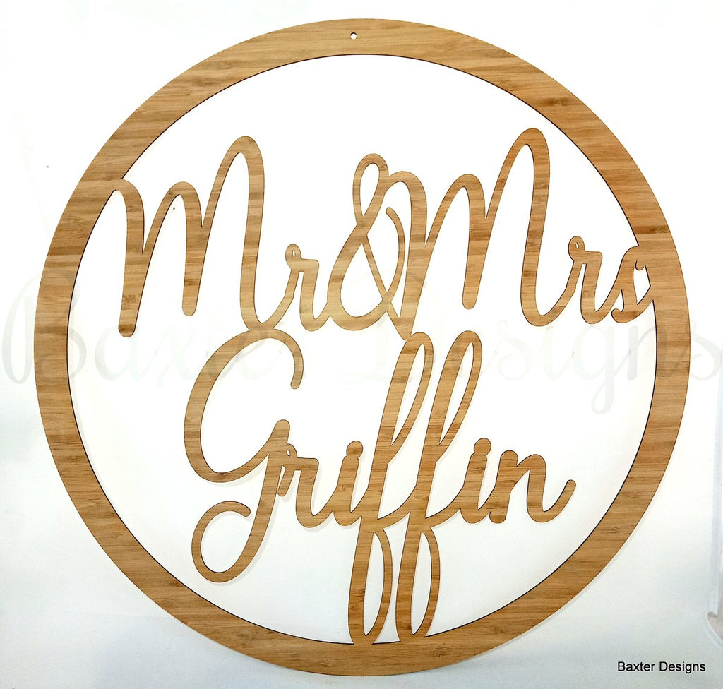 30cm Bamboo Hanging Hoop Sign for Weddings, Christenings, Baby Showers, Engagements and Events
