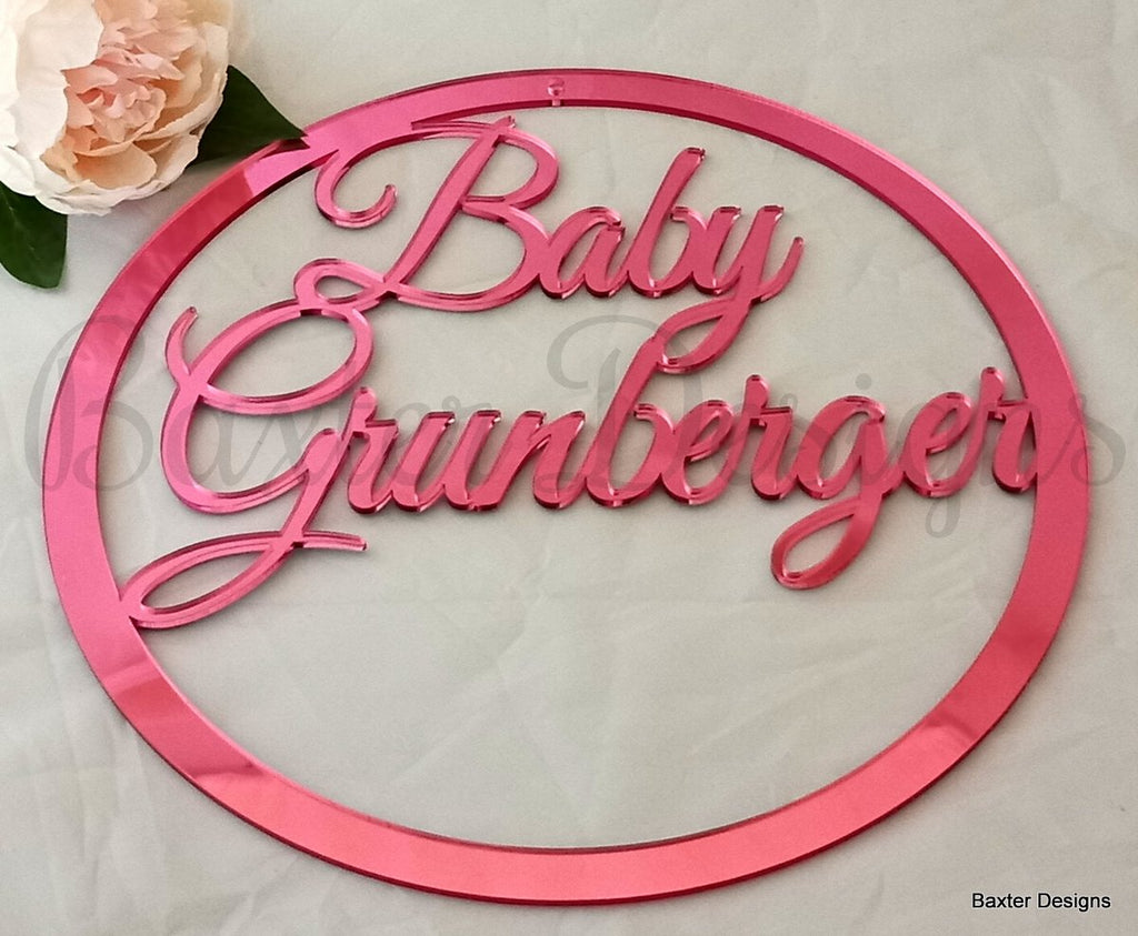 60cm Mirror Acrylic Hanging Hoop Sign for Weddings, Christenings, Baby Showers, Engagements and Events