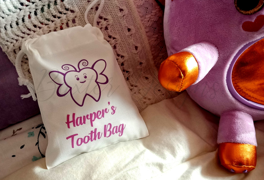 Personalised Name Tooth Fairy Bag Custom Boy Girl