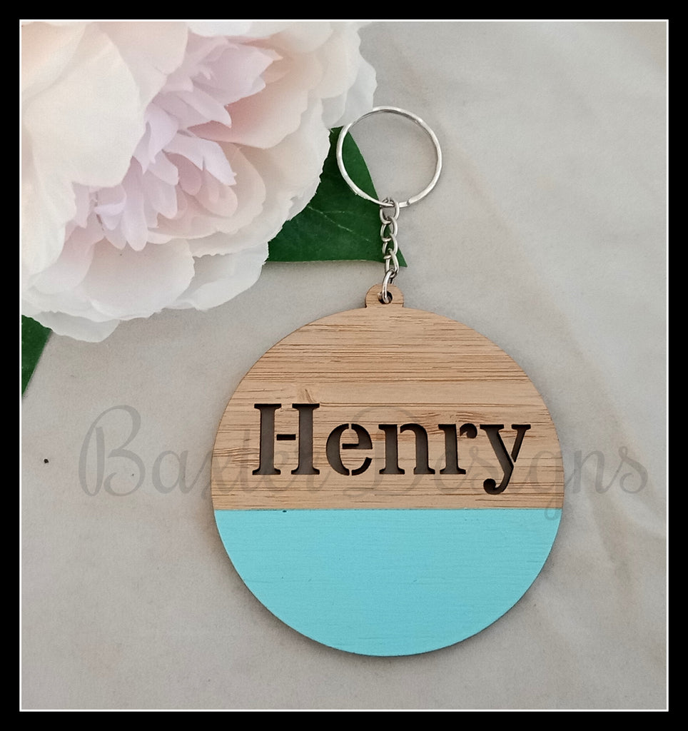 Wooden Bag Tags Personalised Key Ring Bamboo Coloured