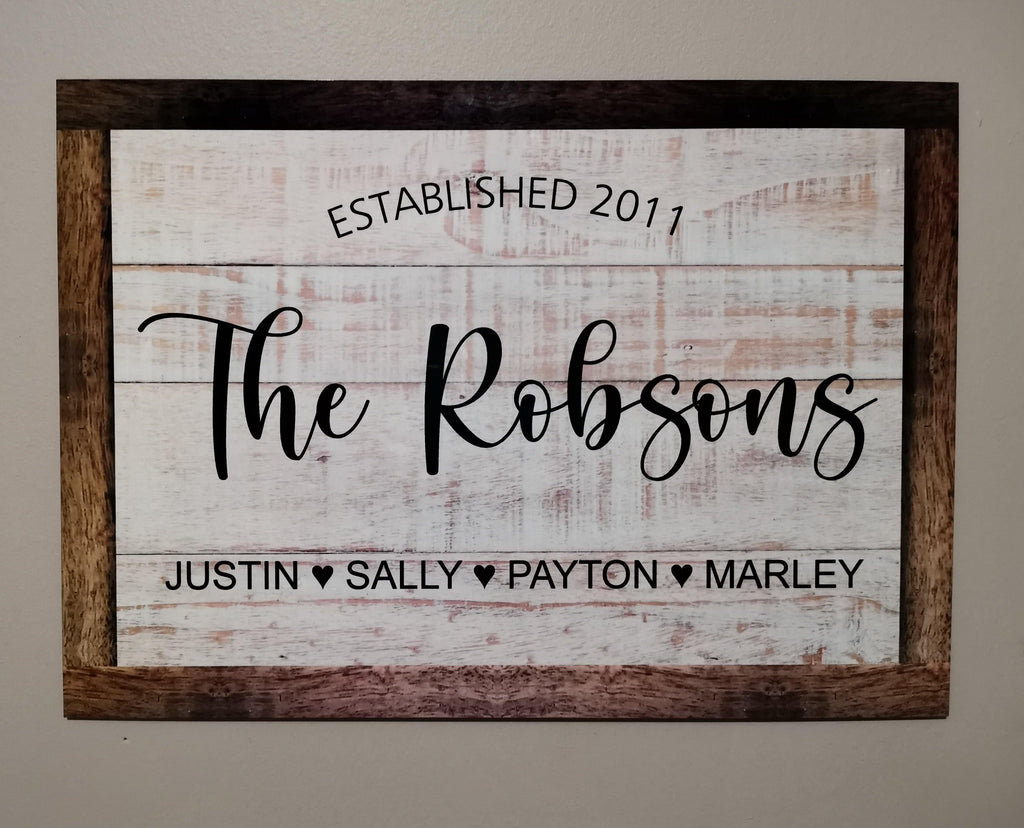 Established Family wooden printed sign