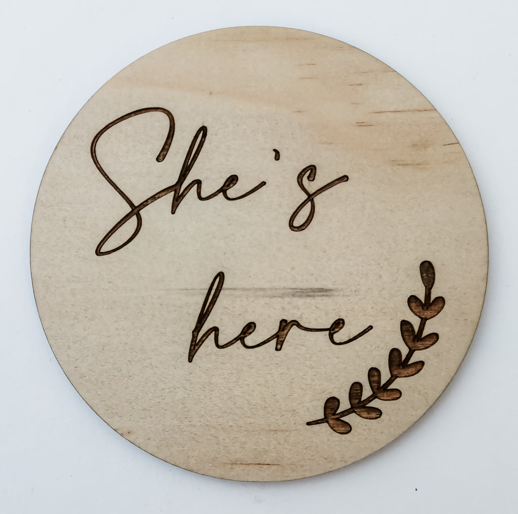 She's here baby arrival announcement disc - gender reveal sign