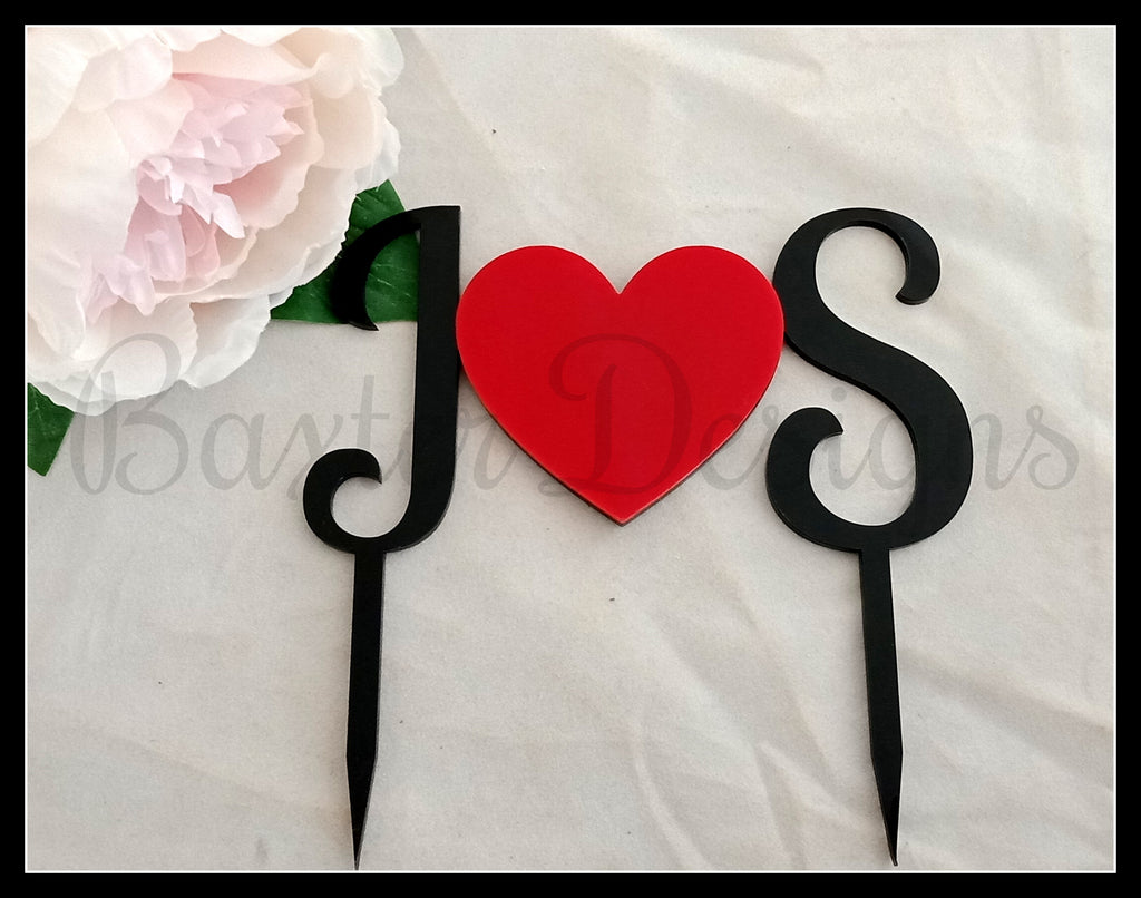 Colour Acrylic Cake Topper Black