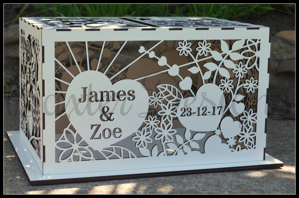 FLAT PACK of Single Box Wooden Wedding Engagement Party Card Wishing Well Box Painted - Baxter Designs Australia