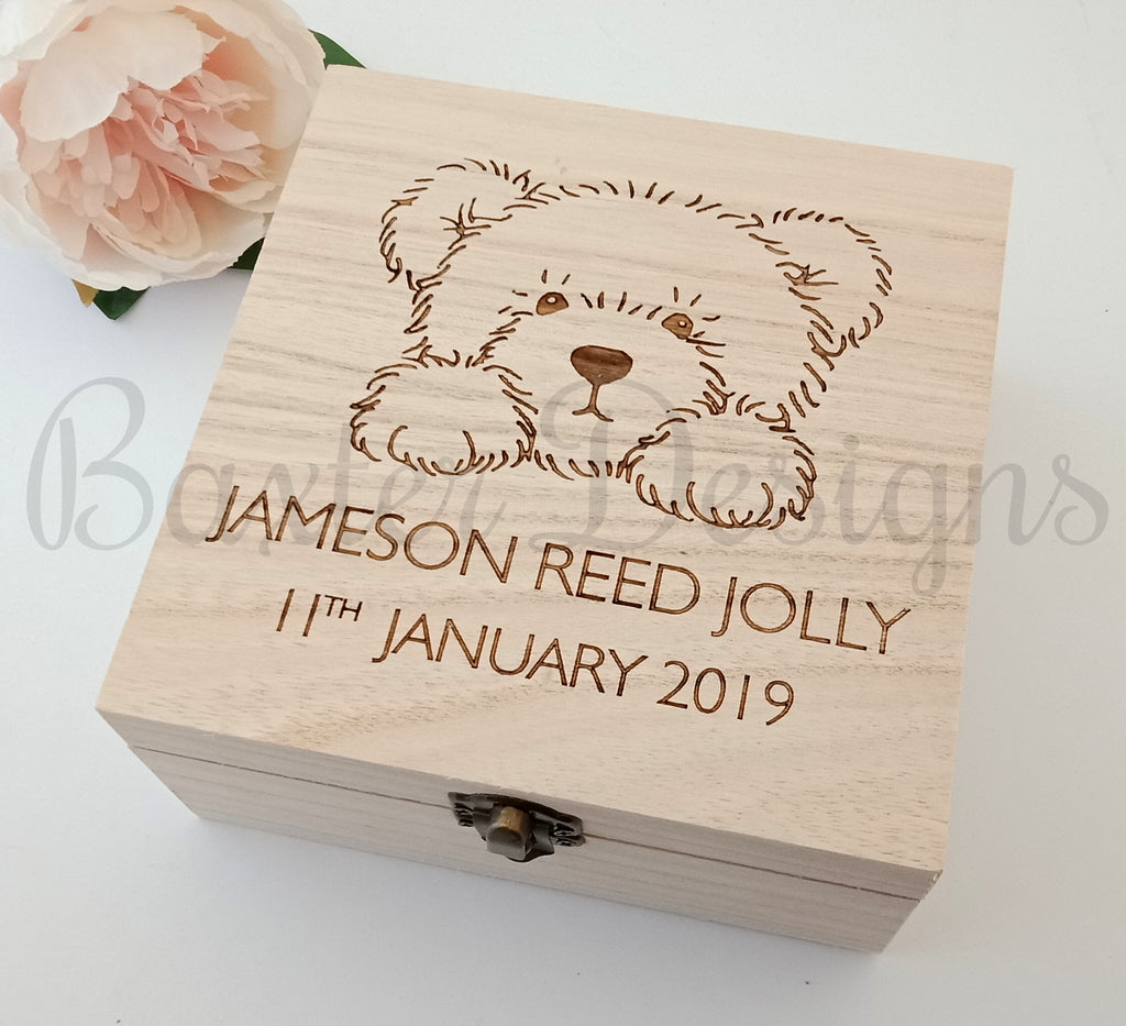 Personalised Wooden Baby Keepsake Box Bear