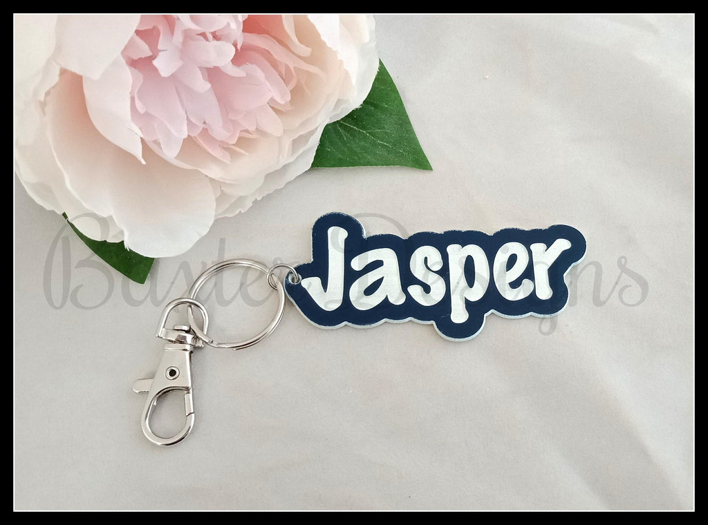 Coloured 2 Tone Acrylic Name Keyring Personalised Bag Tag - Baxter Designs Australia