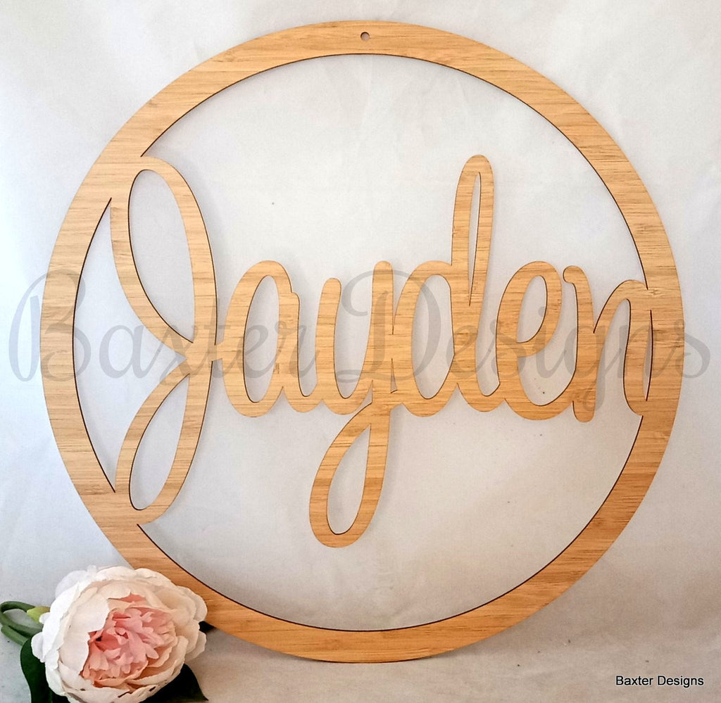 Hanging Hoop Name Sign 40cm Bamboo Personalised