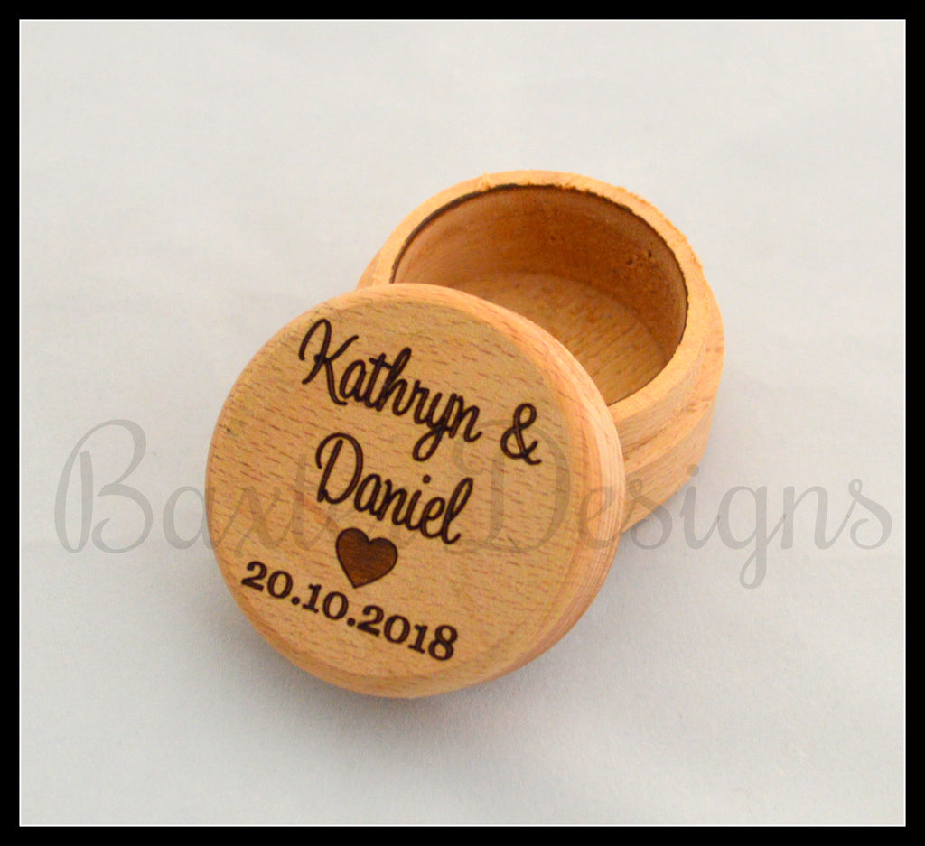 Personalised Wooden Ring Box Single Heart Custom Engraved with Suede Lining