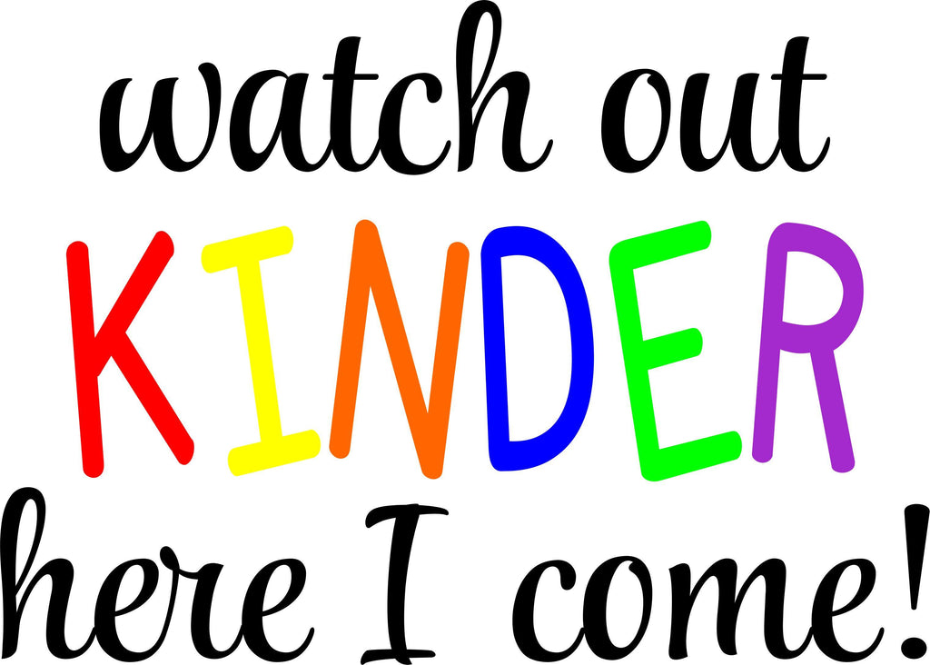 First Day of School Kinder Kindy Prep Grade 1 2 3 4 5 6 Board Milestone Memory Watch out here I come