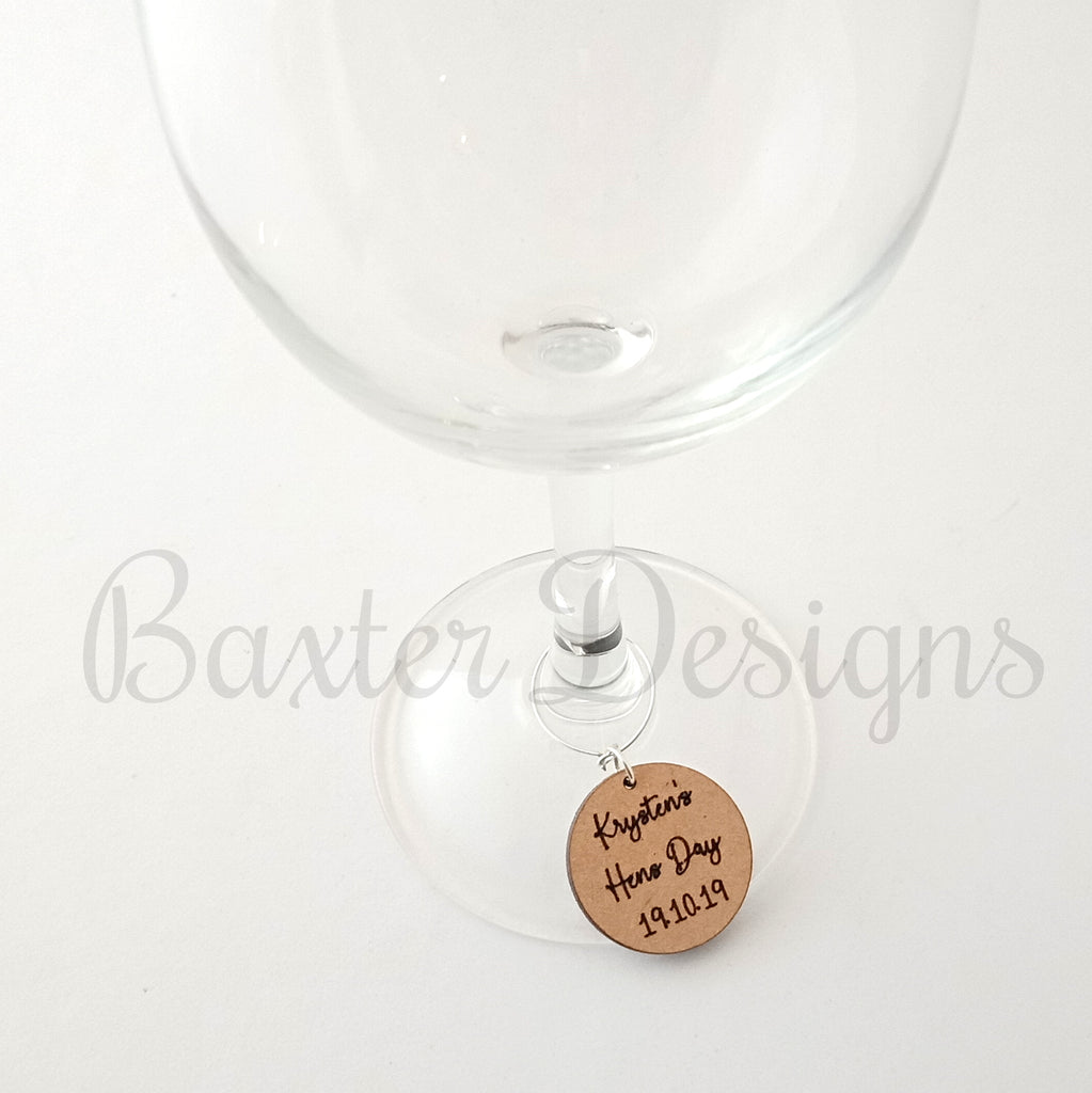 Wine Glass Wooden Charms - Perfect to dress up your glass at Weddings, Birthdays, Hens, Parties and Events