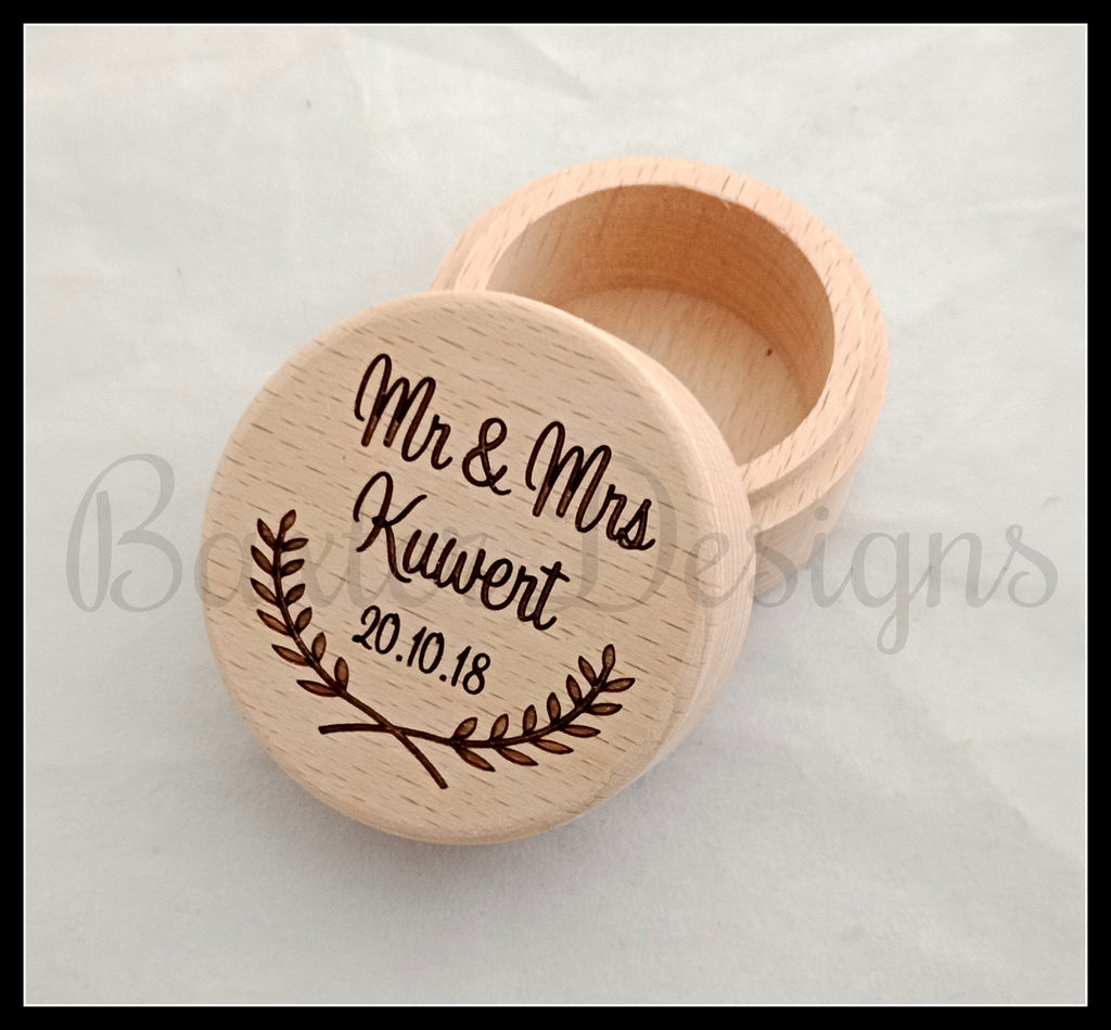Personalised Wooden Ring Box Half Wreath Custom Engraved with Suede Lining