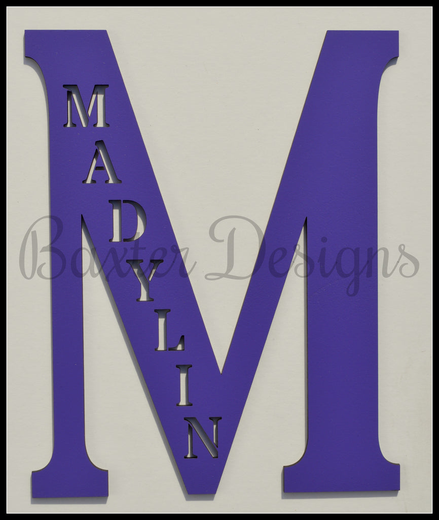 wooden letters personalised purple