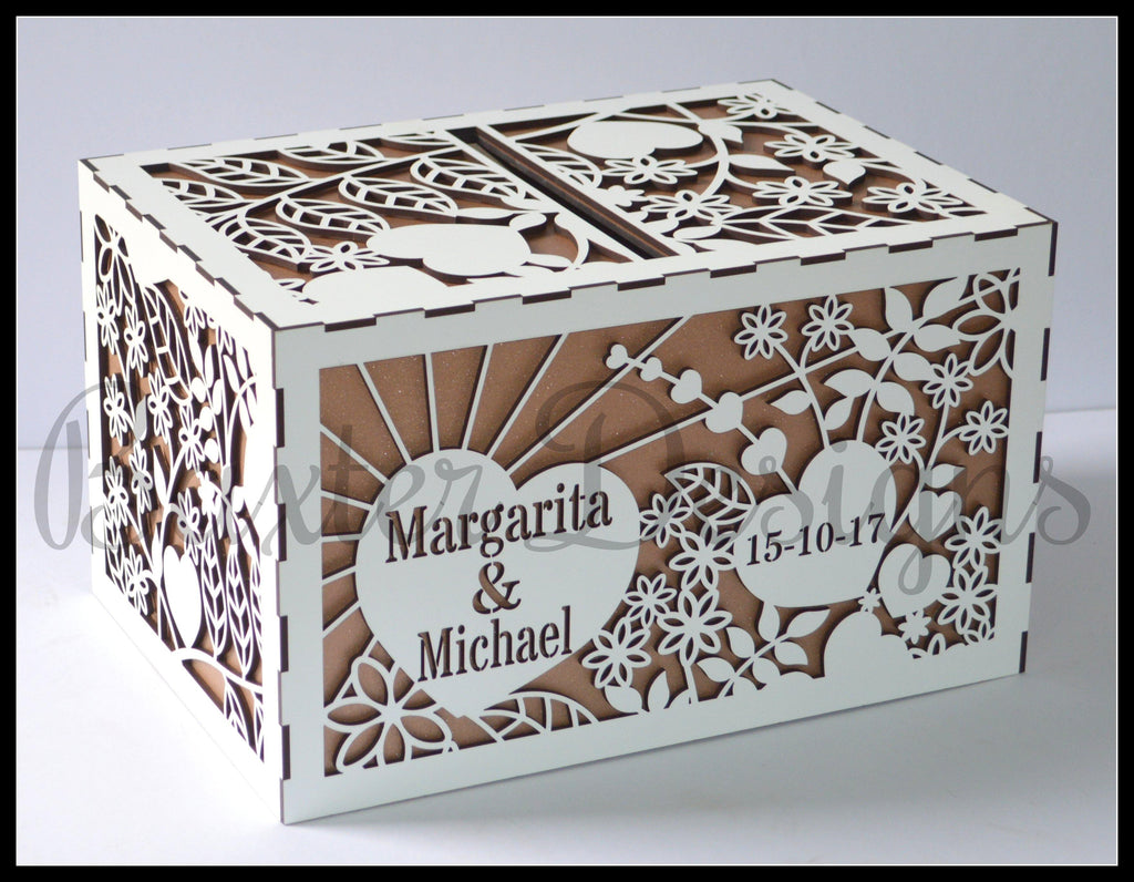 Double Box Wooden Wedding Engagement Party Card Wishing Well Box Painted
