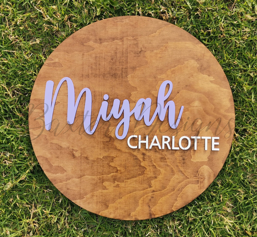 Childrens Hanging Name Disc with coloured acrylic names - ply wood