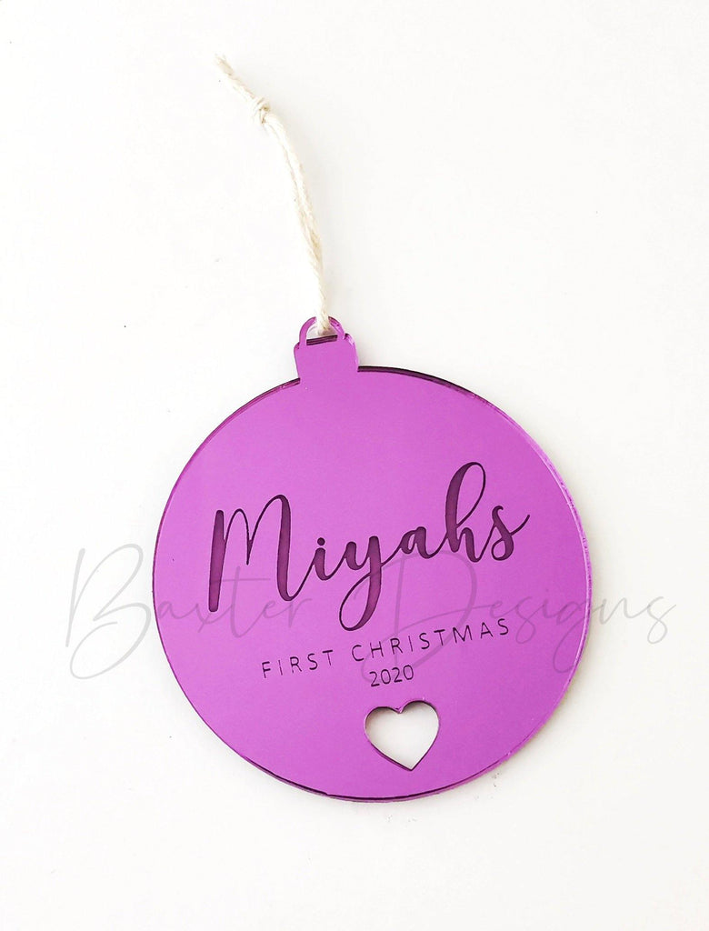 Baby's First Christmas Mirror Acrylic Round Name Engraved Christmas Decoration Xmas Ball Baubles Hanging Tree Decoration - Baxter Designs Australia
