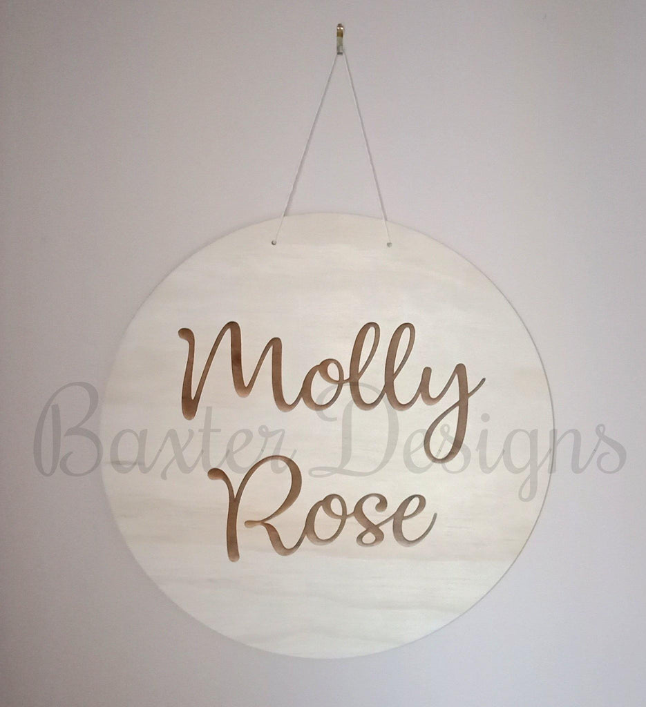 Children Hanging Name Disc Room Wall Kids Raw Ply wood - Baxter Designs Australia